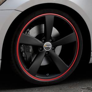 AVUS Racing AF10 MATT BLACK RED LINE Felge mit Reifen schwarz rot farbige Outline in 20Zoll Alufelge auf silbernem Volkswagen (VW) Passat 3C/B8 Limousine Variant ⬇️ mit 15mm Tieferlegung ⬇️ Industriehalle 1 Thumbnail