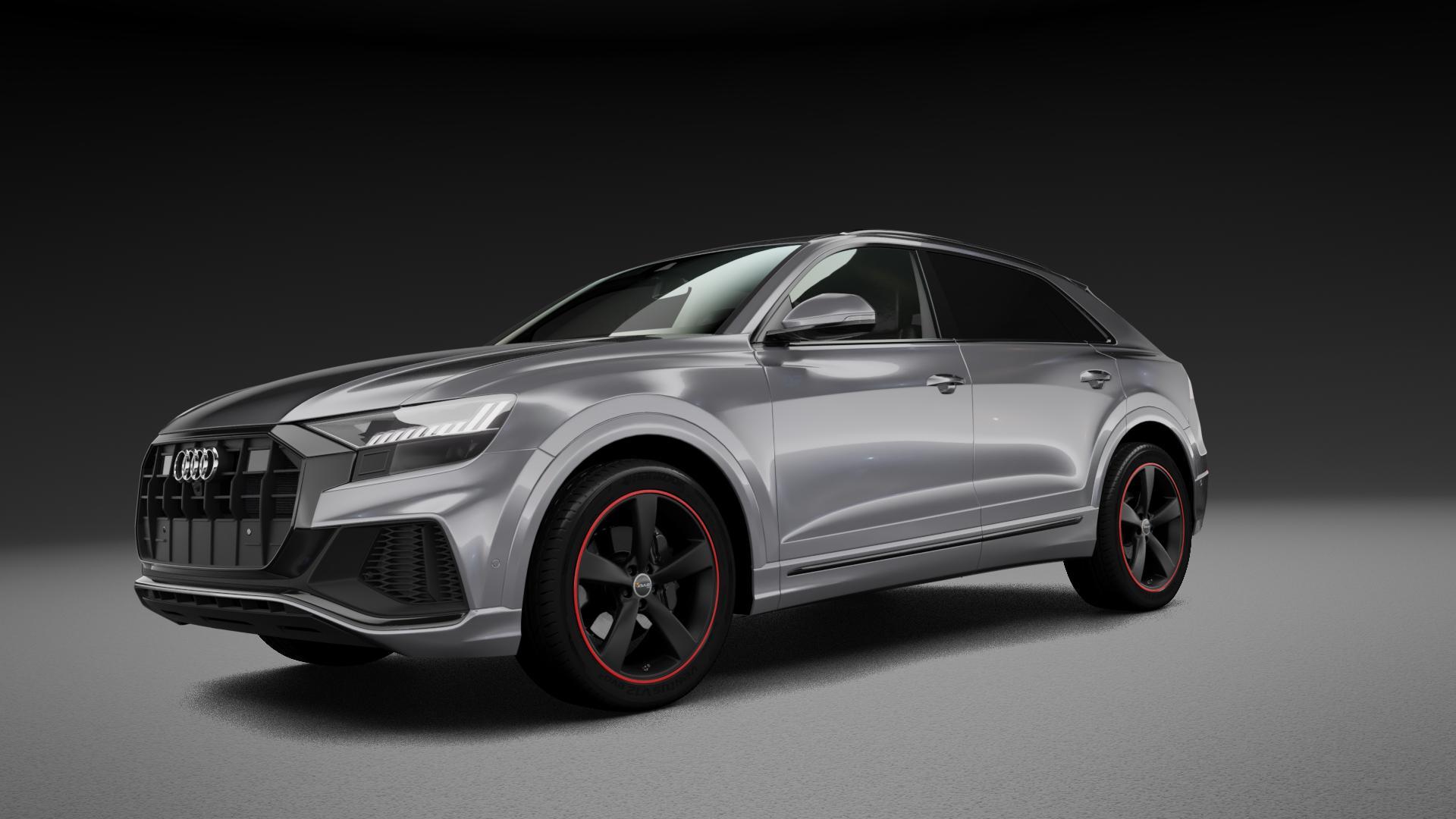 AVUS Racing AF10 MATT BLACK RED LINE Felge mit Reifen schwarz rot farbige Outline in 21Zoll Alufelge auf silbernem Audi Q8 Typ 4M (4L) ⬇️ mit 15mm Tieferlegung ⬇️ Neutral_mid_max5300mm Frontansicht_1