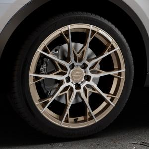 B52-Wheels X1 Bronze matt full machined Felge mit Reifen in 19Zoll Alufelge auf silbernem Audi Q3 I Typ 8U Facelift ⬇️ mit 15mm Tieferlegung ⬇️ Industriehalle 1 Thumbnail