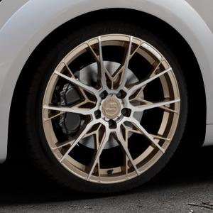 B52-Wheels X1 Bronze matt full machined Felge mit Reifen in 19Zoll Alufelge auf silbernem Audi TT III Typ 8S (Coupé) (Roadster) ⬇️ mit 15mm Tieferlegung ⬇️ Industriehalle 1 Thumbnail