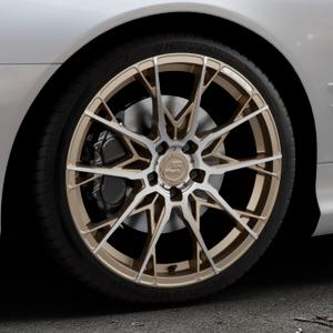 B52-Wheels X1 Bronze matt full machined Felge mit Reifen in 19Zoll Alufelge auf silbernem Mercedes SL Typ R230 ⬇️ mit 15mm Tieferlegung ⬇️ Industriehalle 1 Thumbnail