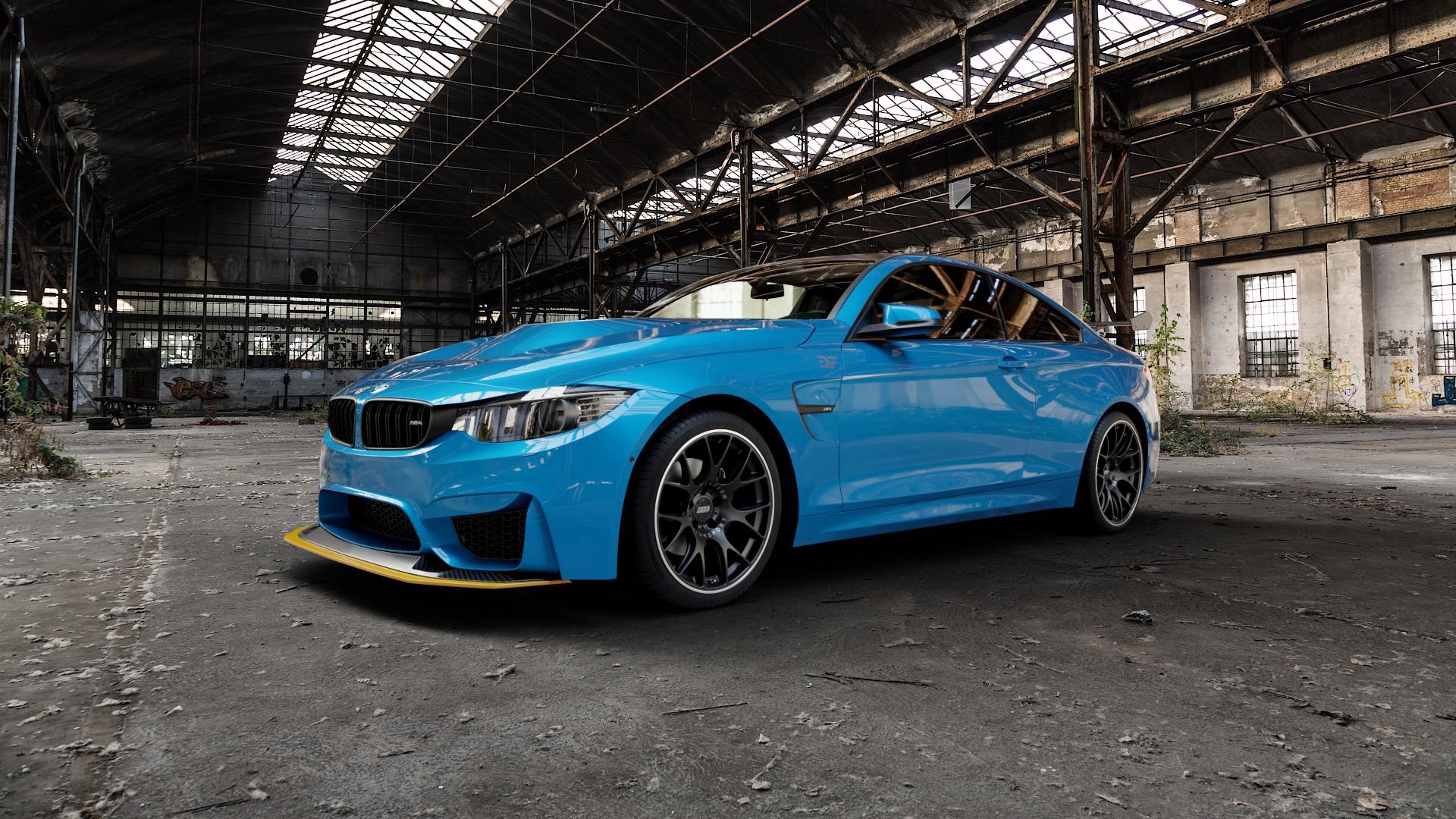 BBS CH-R schwarz matt Felge mit Reifen in 19Zoll Winterfelge Alufelge auf hellblau BMW M4 Typ F82 GTS 3,0l 368kW (500 PS) ⬇️ mit 15mm Tieferlegung ⬇️ Industriehalle 1 Camera_000