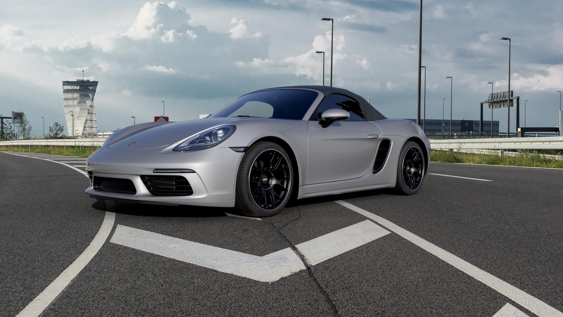 BBS CH-R schwarz matt Felge mit Reifen in 19Zoll Winterfelge Alufelge auf silbernem Porsche 718 Boxster Typ 982 ⬇️ mit 15mm Tieferlegung ⬇️ Autobahn_1 Camera_000