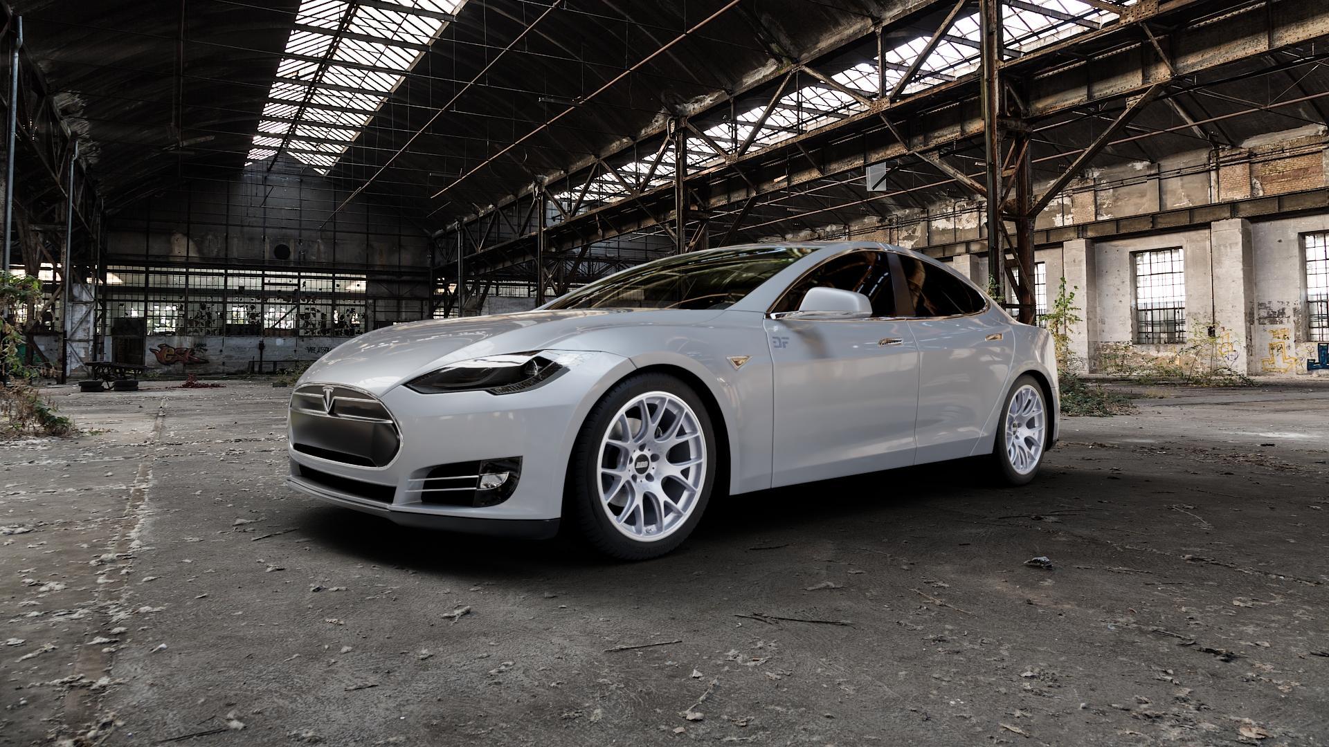 BBS CH-R titan matt Felge mit Reifen grau in 19Zoll Winterfelge Alufelge auf silbernem Tesla Model S Typ 002 ⬇️ mit 15mm Tieferlegung ⬇️ Industriehalle 1 Camera_000