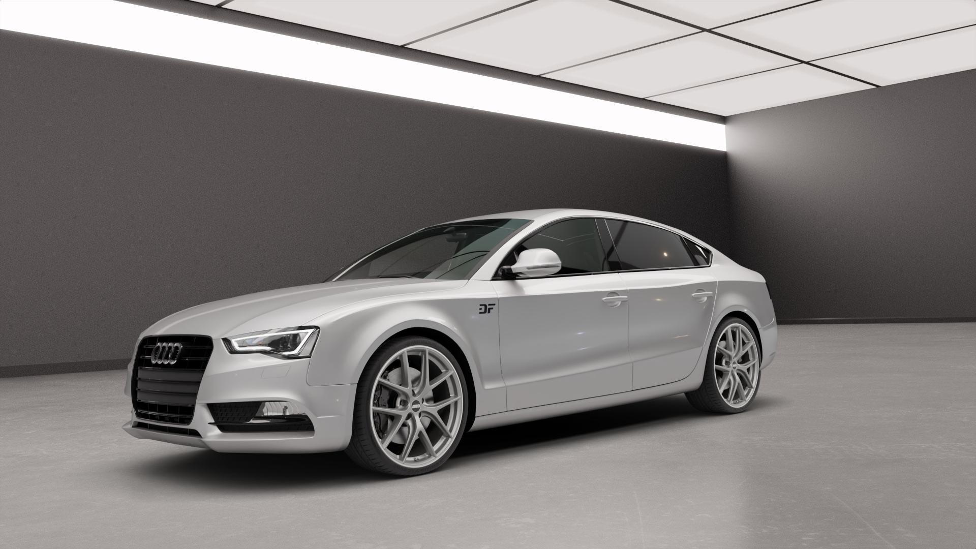 BBS CI-R platinum silber Felge mit Reifen in 20Zoll Winterfelge Alufelge auf silbernem Audi A5 Typ B8 (Sportback) Facelift ⬇️ mit 15mm Tieferlegung ⬇️ Neutral_mid_max5300mm Frontansicht_1