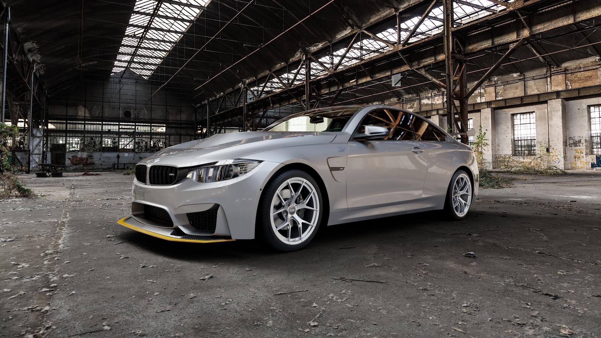 BBS FI-R platinum silber Felge mit Reifen grau in 19Zoll Winterfelge Alufelge auf silbernem BMW M4 Typ F82 GTS 3,0l 368kW (500 PS) ⬇️ mit 15mm Tieferlegung ⬇️ Industriehalle 1 Camera_000