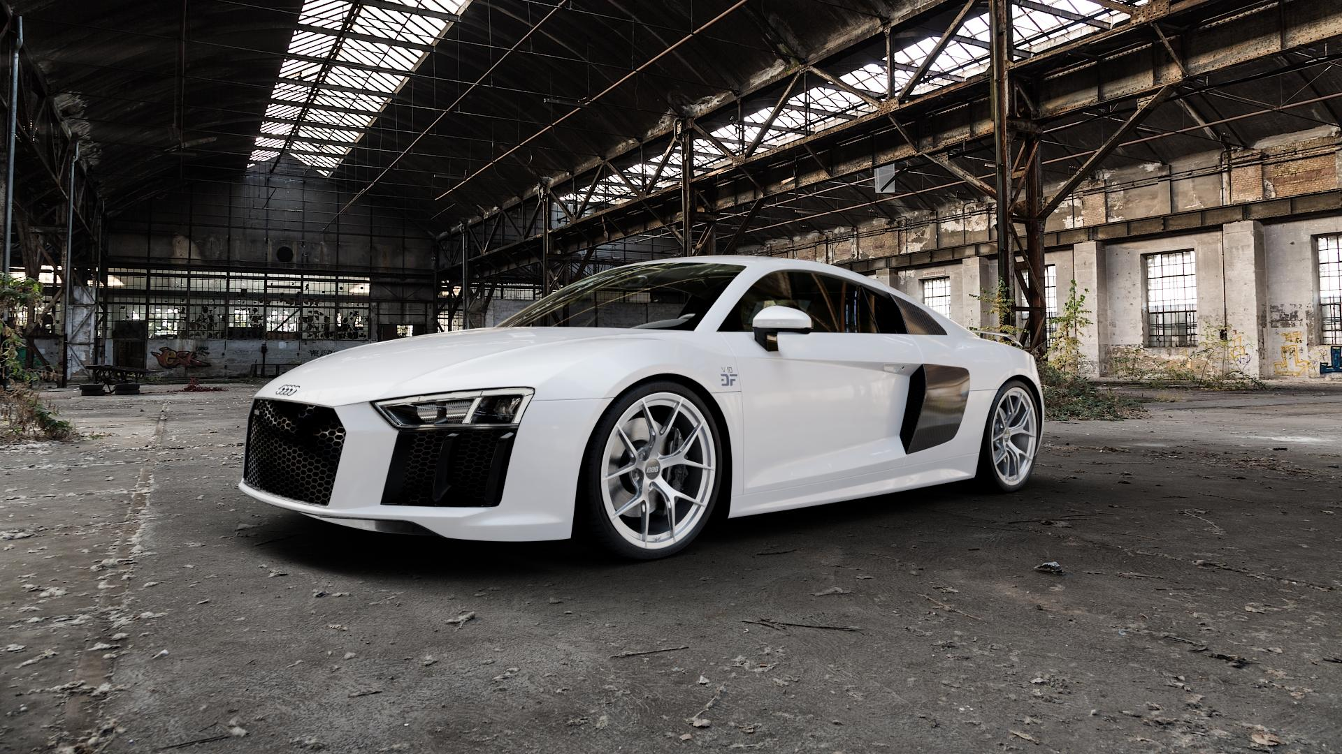 BBS FI-R platinum silber Felge mit Reifen grau in 20Zoll Winterfelge Alufelge auf weissem Audi R8 Typ 4S 15-> Spyder 16-> ⬇️ mit 15mm Tieferlegung ⬇️ Industriehalle 1 Camera_000
