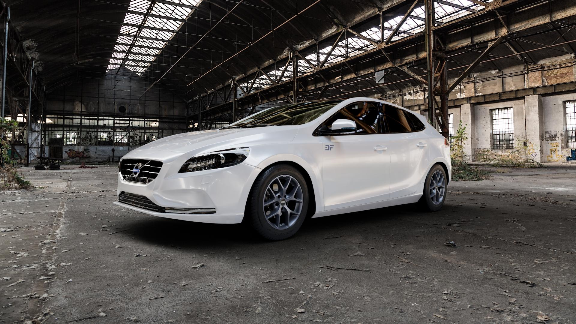BBS SR himalaya-grau matt Felge mit Reifen in 16Zoll Winterfelge Alufelge auf weissem Volvo V40 II Typ M ⬇️ mit 15mm Tieferlegung ⬇️ Industriehalle 1 Camera_000