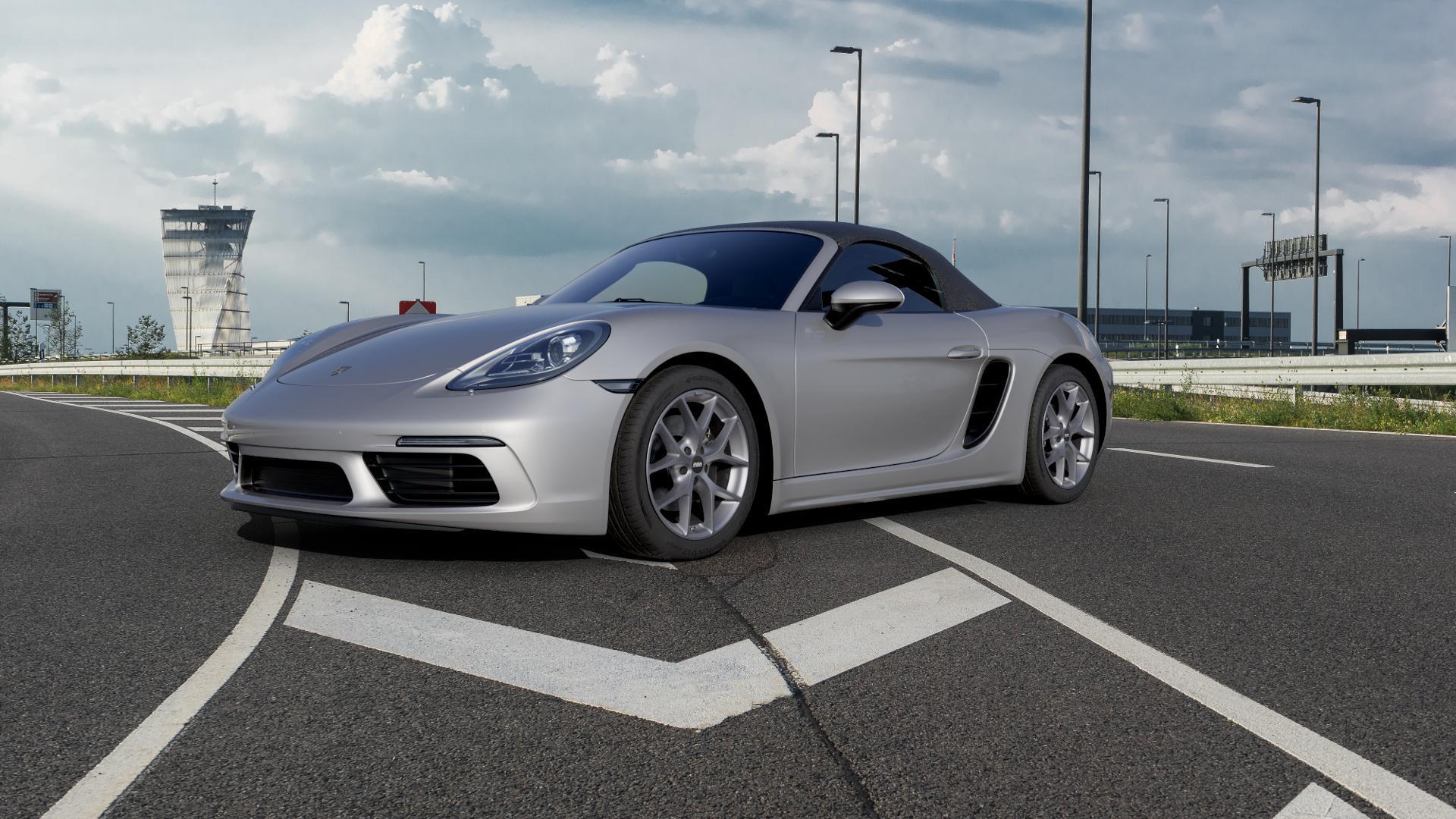 BBS SR himalaya-grau matt Felge mit Reifen in 18Zoll Winterfelge Alufelge auf silbernem Porsche 718 Boxster Typ 982 ⬇️ mit 15mm Tieferlegung ⬇️ Autobahn_1 Camera_000