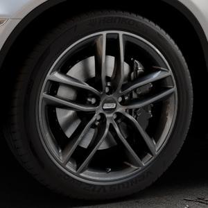 BBS SX kristall-schwarz Felge mit Reifen in 20Zoll Winterfelge Alufelge auf silbernem BMW X6 Typ E71 (X70, X6, X-N1, HY) ⬇️ mit 15mm Tieferlegung ⬇️ Industriehalle 1 Thumbnail