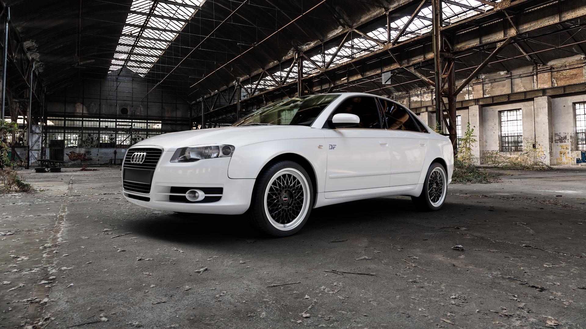 Borbet B black rim polished Felge mit Reifen silber schwarz mehrfarbig in 18Zoll Alufelge auf weissem Audi A4 Typ 8EC/B7 (Limousine) ⬇️ mit 15mm Tieferlegung ⬇️ Industriehalle 1 Camera_000