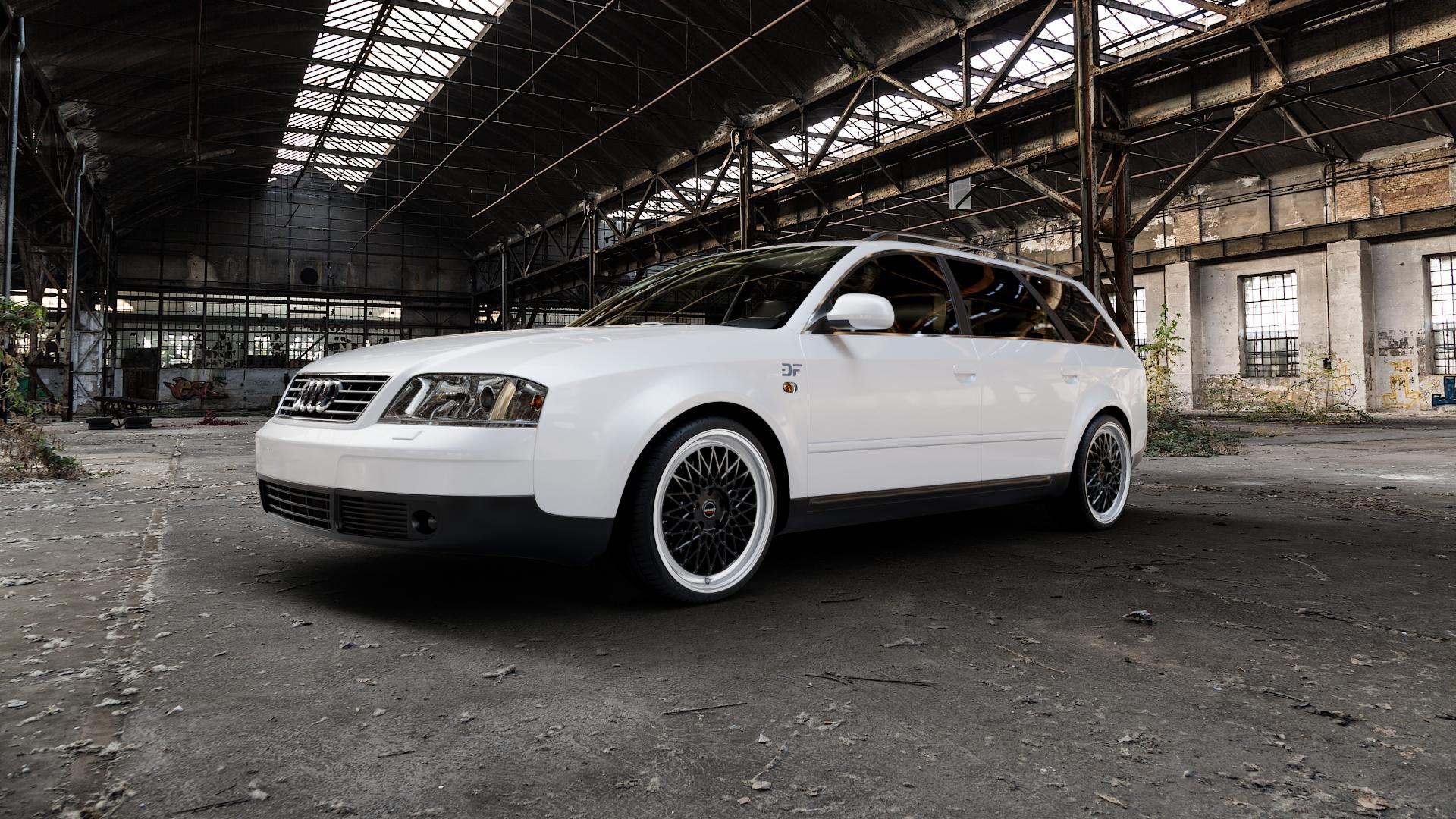 Borbet B black rim polished Felge mit Reifen silber schwarz mehrfarbig in 19Zoll Alufelge auf weissem Audi A6 Typ 4B/C5 (Avant) ⬇️ mit 15mm Tieferlegung ⬇️ Industriehalle 1 Camera_000