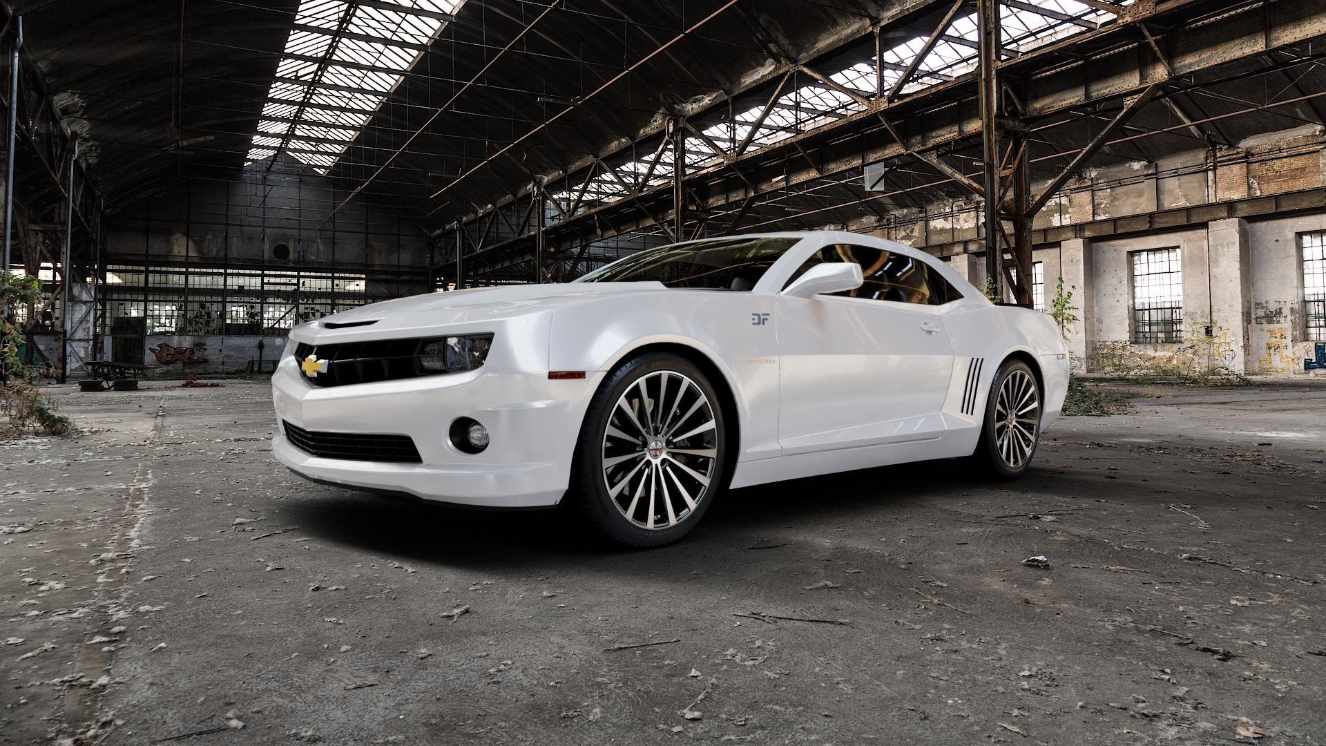 Borbet BLX black polished matt Felge mit Reifen silber schwarz mehrfarbig in 20Zoll Alufelge auf weissem Chevrolet Camaro V ⬇️ mit 15mm Tieferlegung ⬇️ Industriehalle 1 Camera_000