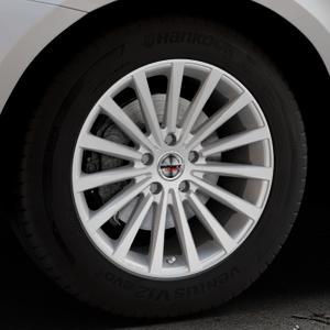 Borbet BLX brilliant silver Felge mit Reifen silber in 18Zoll Winterfelge Alufelge auf silbernem Volvo XC60 Typ D Facelift ⬇️ mit 15mm Tieferlegung ⬇️ Industriehalle 1 Thumbnail