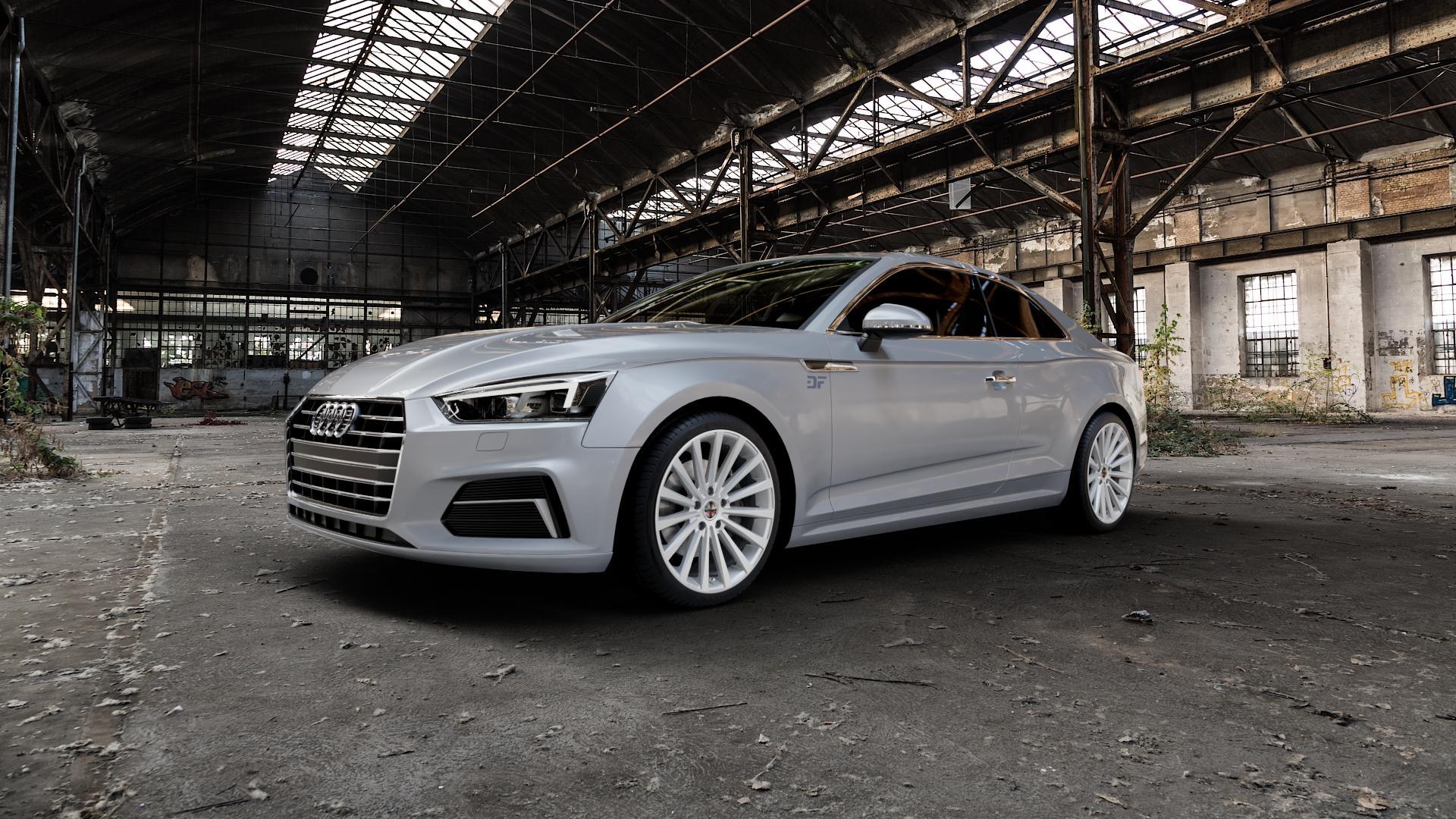 Borbet BLX brilliant silver Felge mit Reifen silber in 19Zoll Winterfelge Alufelge auf silbernem Audi A5 Typ B9 (Coupé) (Cabriolet) ⬇️ mit 15mm Tieferlegung ⬇️ Industriehalle 1 Camera_000