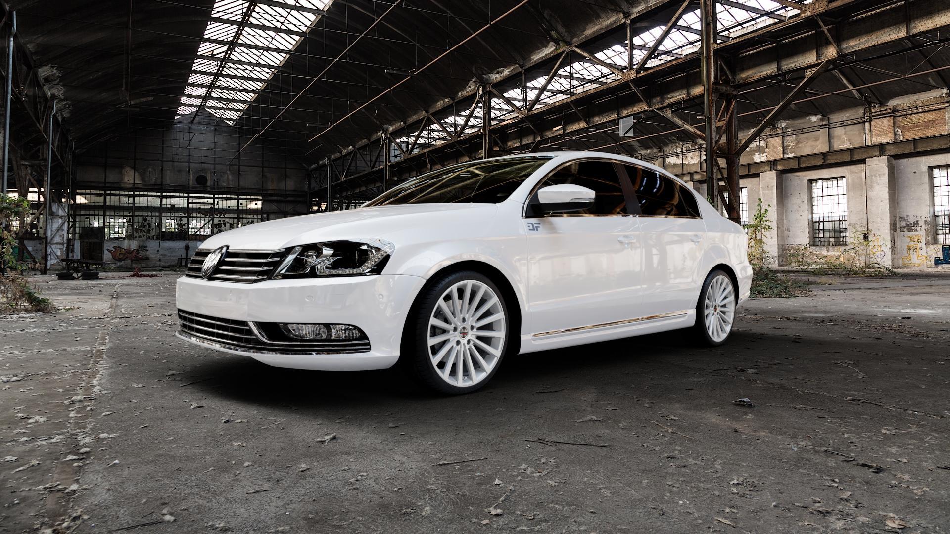 Borbet BLX brilliant silver Felge mit Reifen silber in 19Zoll Winterfelge Alufelge auf weissem Volkswagen (VW) Passat 3C/B7 Limousine ⬇️ mit 15mm Tieferlegung ⬇️ Industriehalle 1 Camera_000