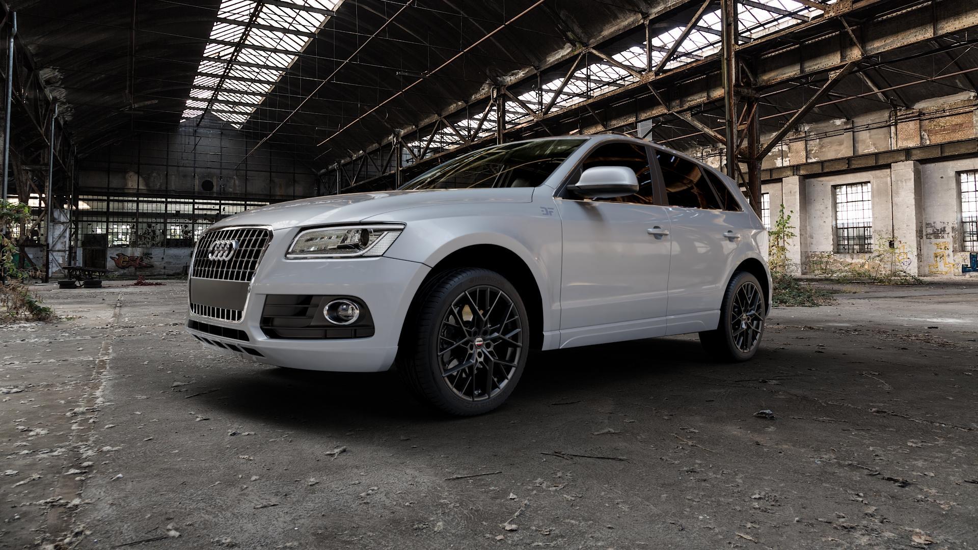 Borbet BY black matt Felge mit Reifen schwarz in 20Zoll Winterfelge Alufelge auf silbernem Audi Q5 I Typ 8R ⬇️ mit 15mm Tieferlegung ⬇️ Industriehalle 1 Camera_000