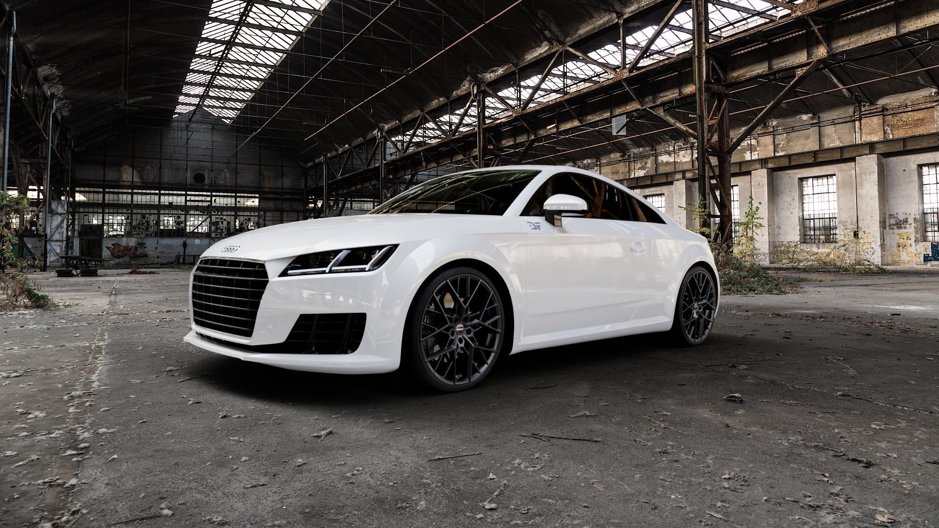 Borbet BY black matt Felge mit Reifen schwarz in 20Zoll Winterfelge Alufelge auf weissem Audi TT III Typ 8S (Coupé) (Roadster) ⬇️ mit 15mm Tieferlegung ⬇️ Industriehalle 1 Camera_000
