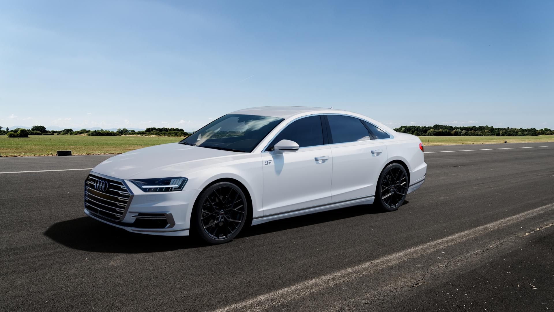 Borbet BY black matt Felge mit Reifen schwarz in 21Zoll Winterfelge Alufelge auf weissem Audi A8 Typ D5/F8 3,0l 60 TFSI e quattro 250kW (340 PS) Hybrid 4,0l 338kW (460 420kW S8 (571 TDI 210kW (286 320kW (435 ⬇️ mit 15mm Tieferlegung ⬇️ Big_Vehicle_Airstrip_1 Frontansicht_1