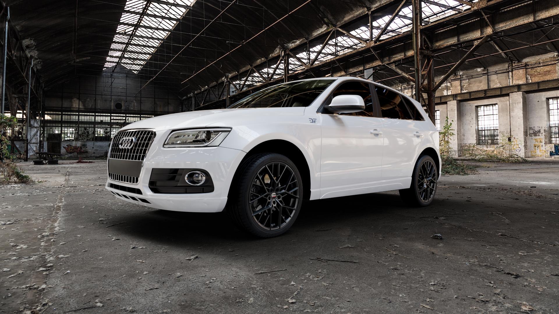 Borbet BY black matt Felge mit Reifen schwarz in 21Zoll Winterfelge Alufelge auf weissem Audi Q5 I Typ 8R ⬇️ mit 15mm Tieferlegung ⬇️ Industriehalle 1 Camera_000