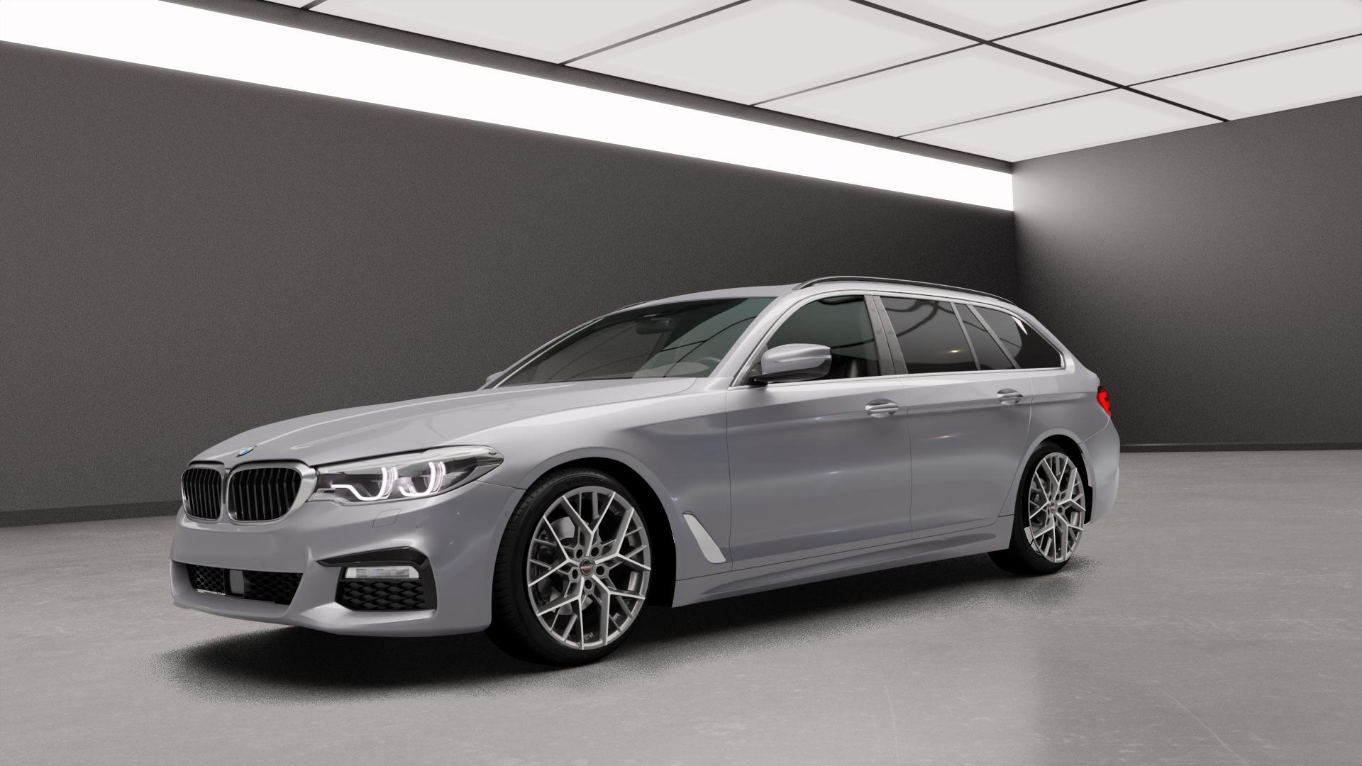 Borbet BY titan polished matt Felge mit Reifen grau in 19Zoll Alufelge auf silbernem BMW 5er G31 Touring (G5K) ⬇️ mit 15mm Tieferlegung ⬇️ Neutral_mid_max5300mm Frontansicht_1