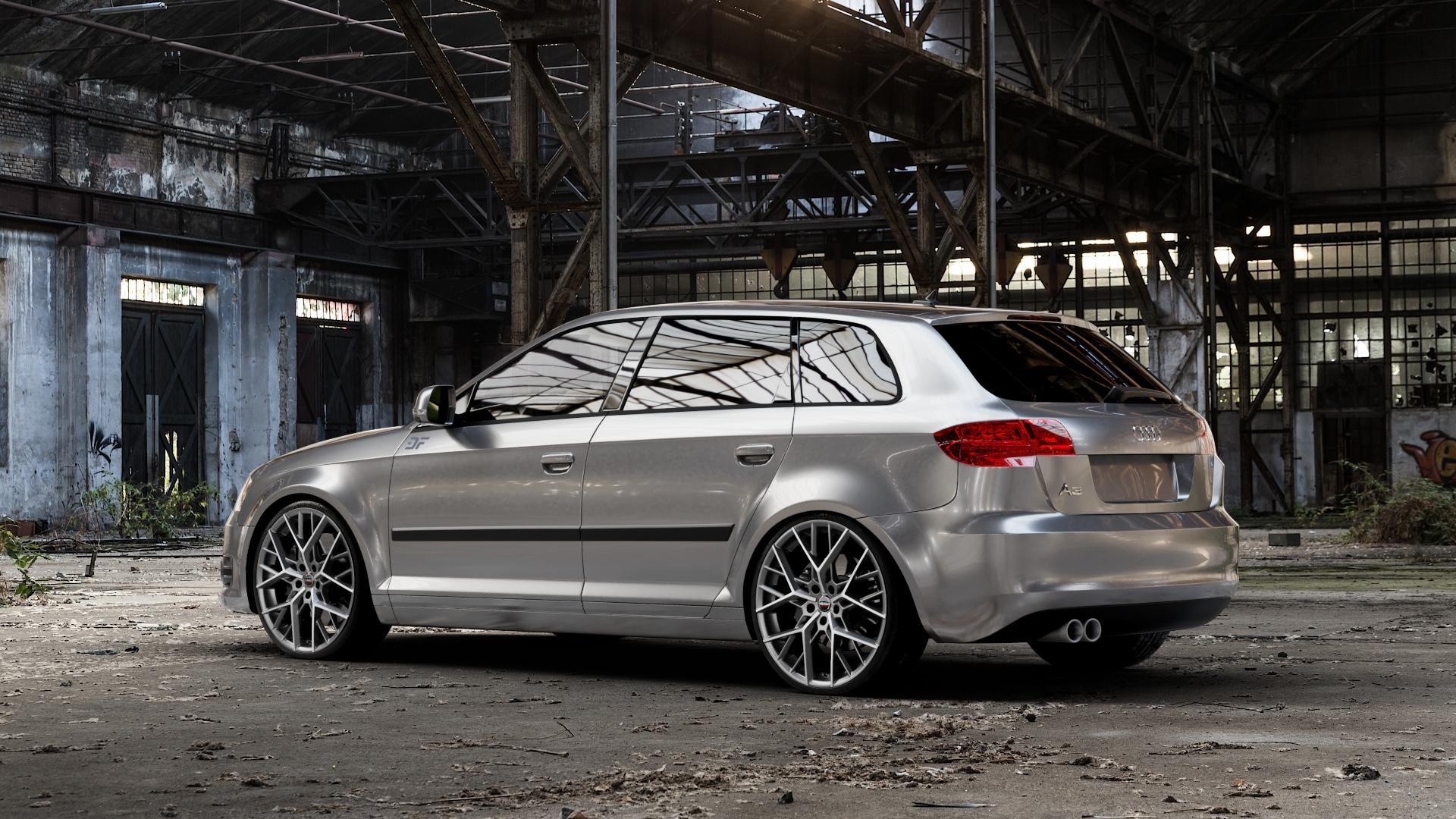 Borbet BY titan polished matt Felge mit Reifen grau in 20Zoll Alufelge auf silbernem Audi A3 Typ 8P (Sportback) 1,6l 75kW (102 PS) 2,0l FSI 110kW (150 1,9l TDI 77kW (105 103kW (140 TFSI 147kW (200 85kW (116 100kW (136 1,8l 118kW (160 125kW (170 1,4l 92kW (125 120kW (163 quattro 3,2l V6 184kW (250 S3 195kW (265 1,2l 66kW (90