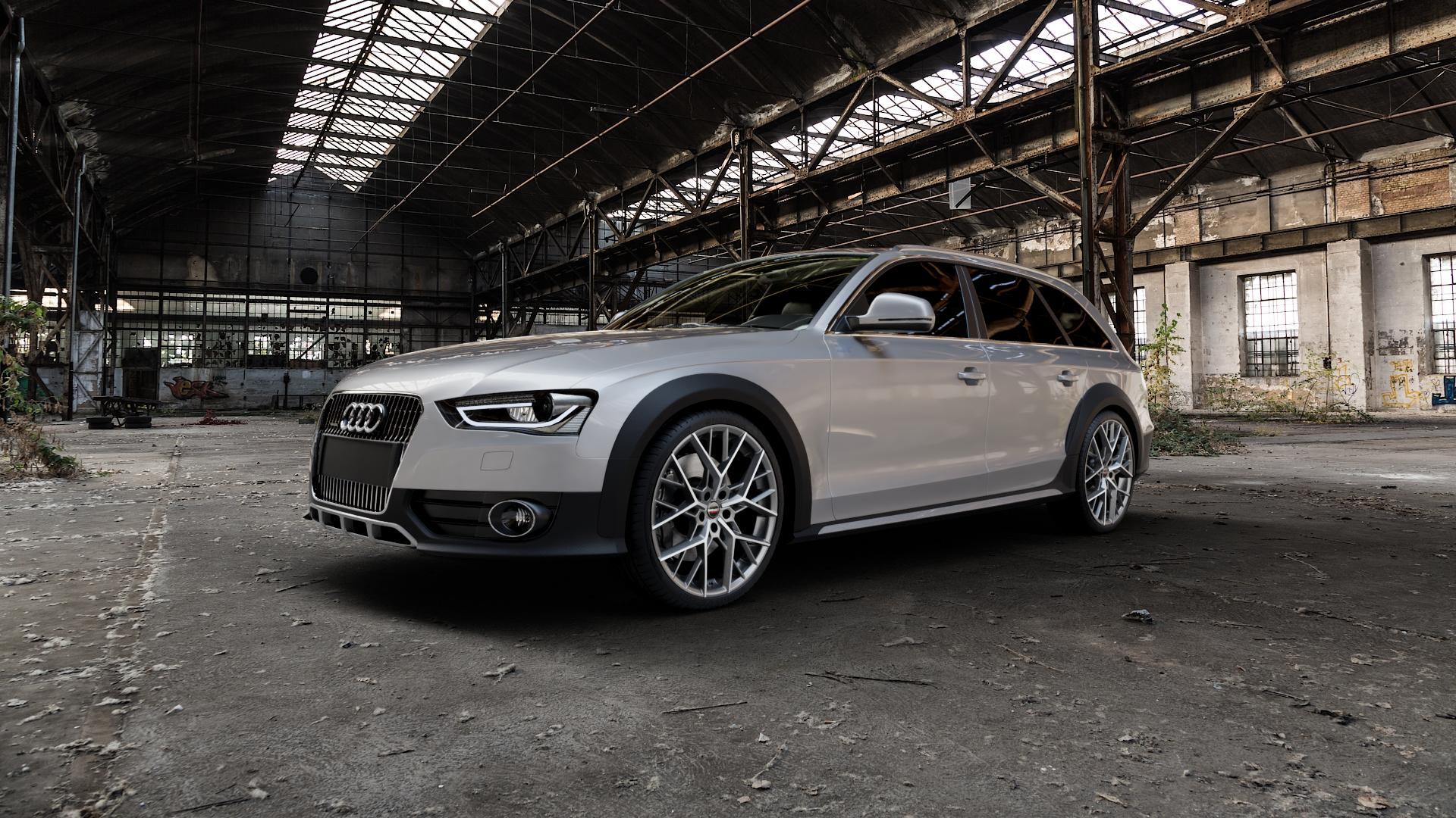 Borbet BY titan polished matt Felge mit Reifen grau in 20Zoll Alufelge auf silbernem Audi A4 Typ 8KH/B8 Allroad ⬇️ mit 15mm Tieferlegung ⬇️ Industriehalle 1 Camera_000