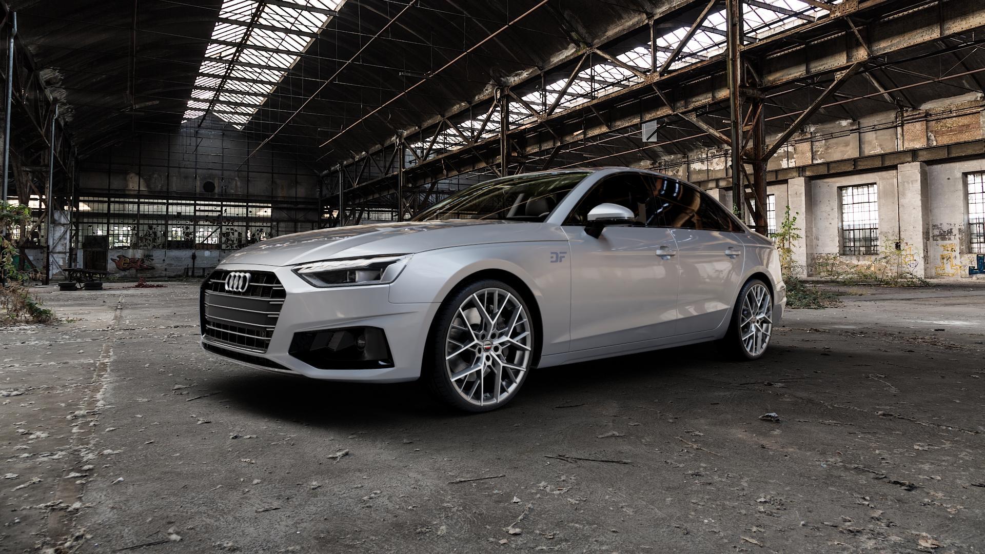 Borbet BY titan polished matt Felge mit Reifen grau in 20Zoll Alufelge auf silbernem Audi A4 Typ B9 (Limousine) Facelift ⬇️ mit 15mm Tieferlegung ⬇️ Industriehalle 1 Camera_000