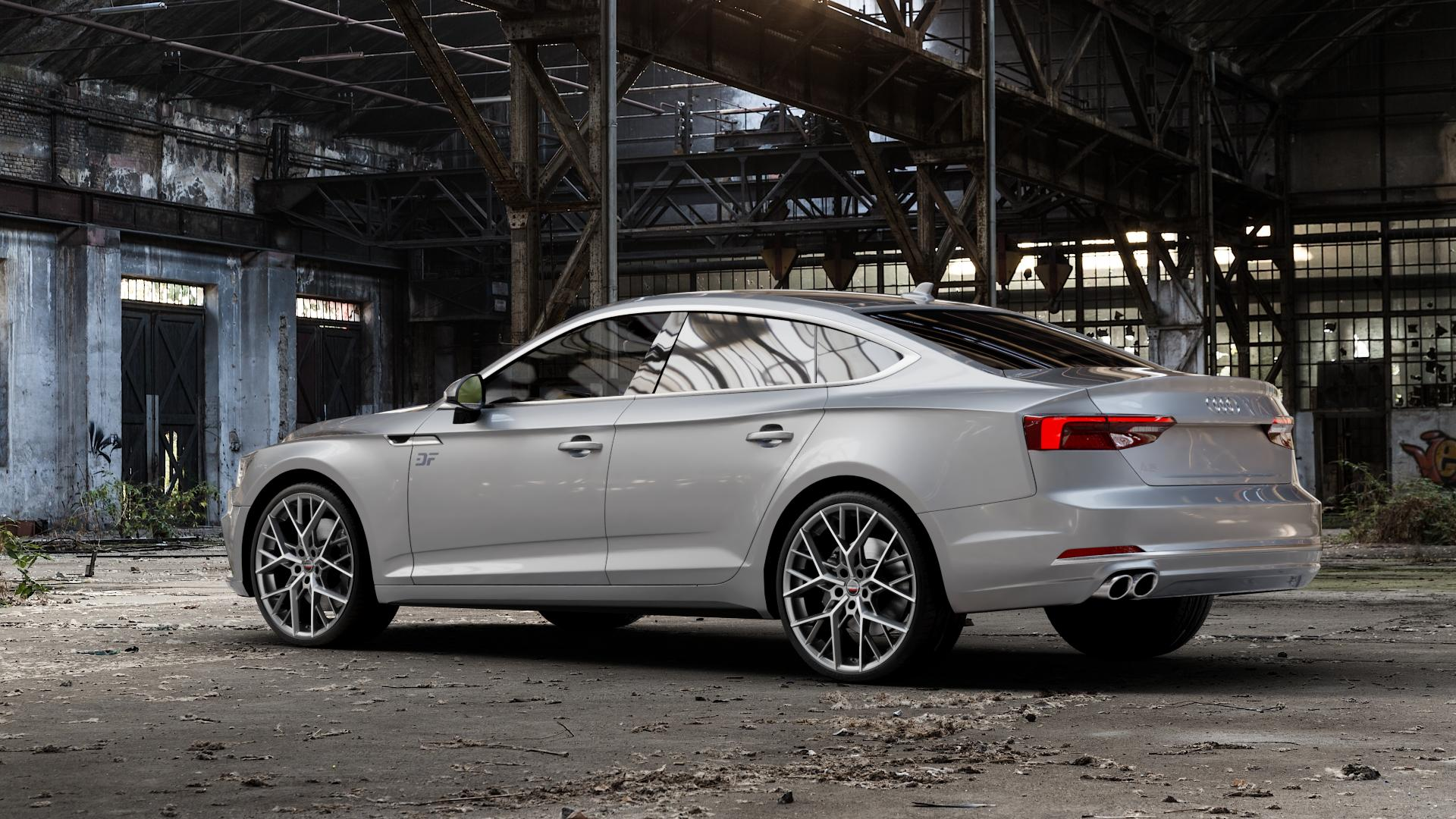 Borbet BY titan polished matt Felge mit Reifen grau in 20Zoll Alufelge auf silbernem Audi A5 Typ B9 (Sportback) 2,0l TDI 140kW (190 PS) quattro TFSI 185kW (252 3,0l 160kW (218 200kW (272 1,4l 110kW (150 183kW (249 g-tron 125kW (170 Mild-Hybrid 100kW (136 210kW (286 45 180kW (245 35 40 50 170kW (231 120kW (163 30 ⬇️ mit 15mm