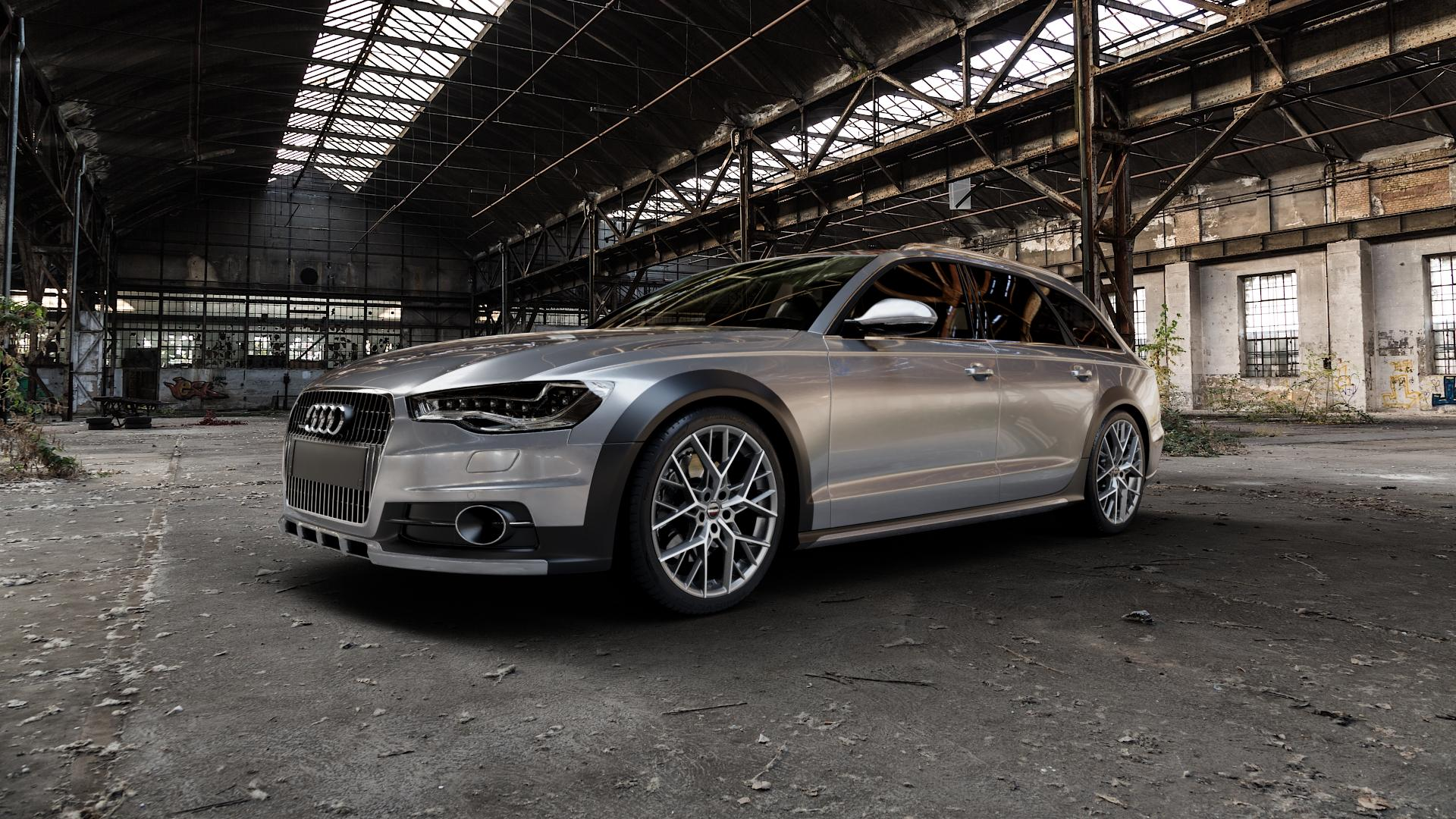 Borbet BY titan polished matt Felge mit Reifen grau in 20Zoll Alufelge auf silbernem Audi A6 Allroad Quattro Typ 4G/C7 ⬇️ mit 15mm Tieferlegung ⬇️ Industriehalle 1 Camera_000
