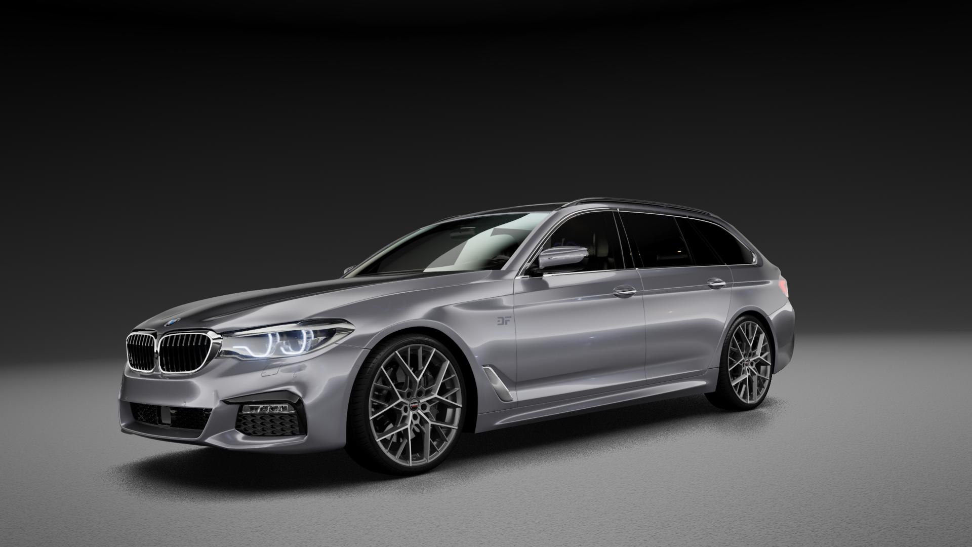 Borbet BY titan polished matt Felge mit Reifen grau in 20Zoll Alufelge auf silbernem BMW 5er G31 Touring (G5K) ⬇️ mit 15mm Tieferlegung ⬇️ Neutral_mid_max5300mm Frontansicht_1