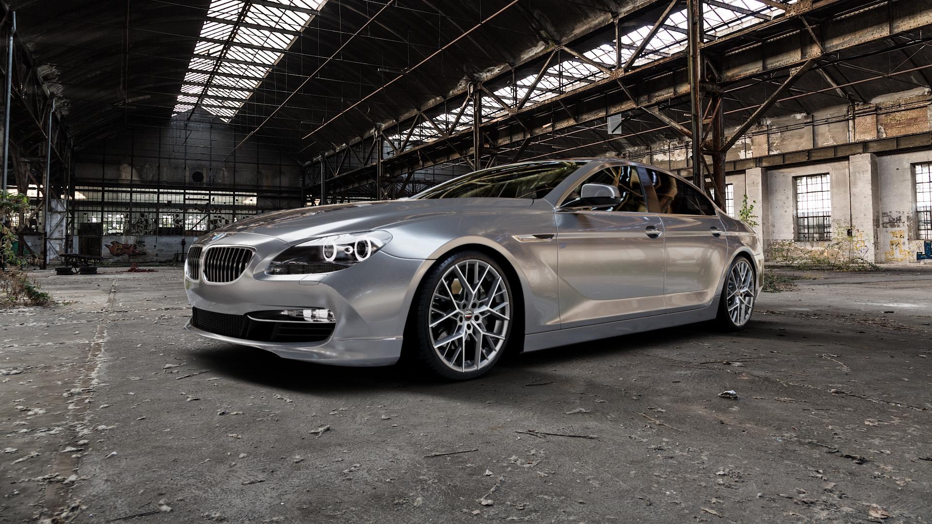 Borbet BY titan polished matt Felge mit Reifen grau in 20Zoll Alufelge auf silbernem BMW 6er F06 Gran Coupe (6C) ⬇️ mit 15mm Tieferlegung ⬇️ Industriehalle 1 Camera_000