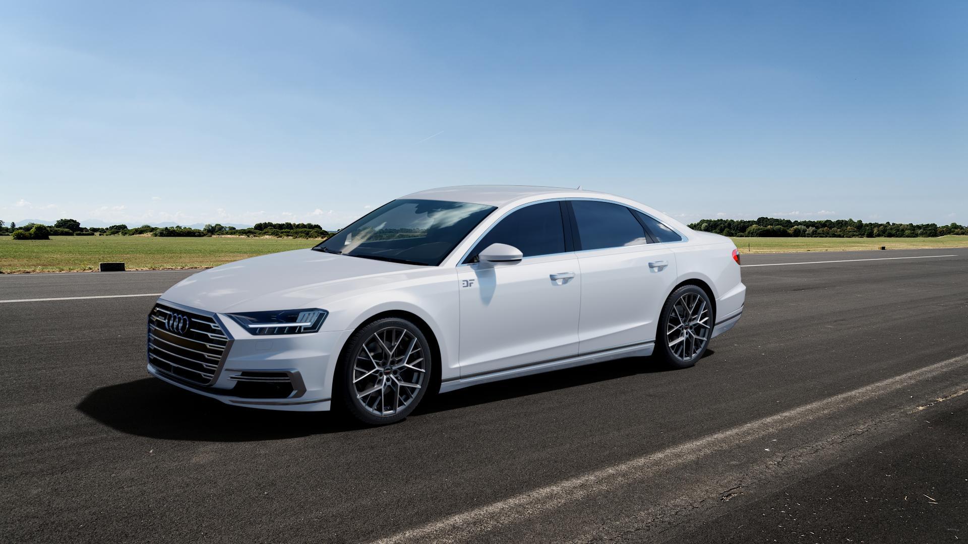 Borbet BY titan polished matt Felge mit Reifen grau in 20Zoll Alufelge auf weissem Audi A8 Typ D5/F8 3,0l 60 TFSI e quattro 250kW (340 PS) Hybrid 4,0l 338kW (460 420kW S8 (571 TDI 210kW (286 320kW (435 ⬇️ mit 15mm Tieferlegung ⬇️ Big_Vehicle_Airstrip_1 Frontansicht_1