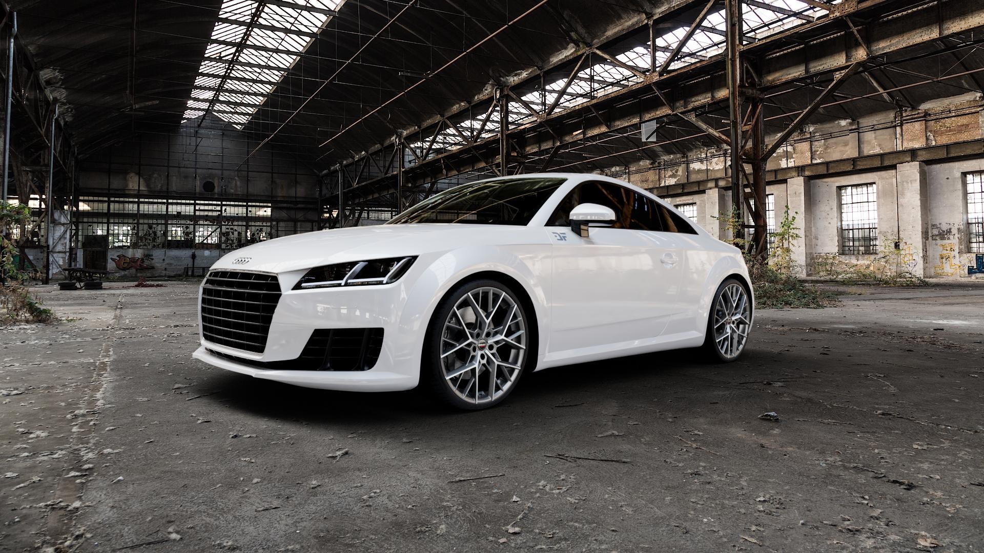 Borbet BY titan polished matt Felge mit Reifen grau in 20Zoll Alufelge auf weissem Audi TT III Typ 8S (Coupé) (Roadster) ⬇️ mit 15mm Tieferlegung ⬇️ Industriehalle 1 Camera_000