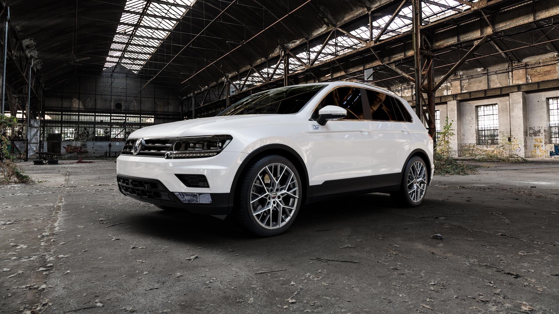 Borbet BY titan polished matt Felge mit Reifen grau in 20Zoll Alufelge auf weissem Volkswagen (VW) Tiguan II Typ 5N ⬇️ mit 15mm Tieferlegung ⬇️ Industriehalle 1 Camera_000