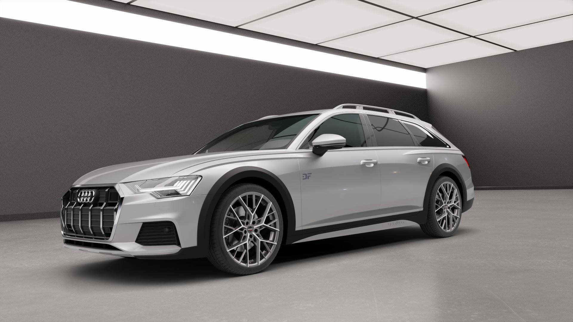 Borbet BY titan polished matt Felge mit Reifen grau in 21Zoll Alufelge auf silbernem Audi A6 Allroad Quattro Typ F2/C8 ⬇️ mit 15mm Tieferlegung ⬇️ Neutral_mid_max5300mm Frontansicht_1