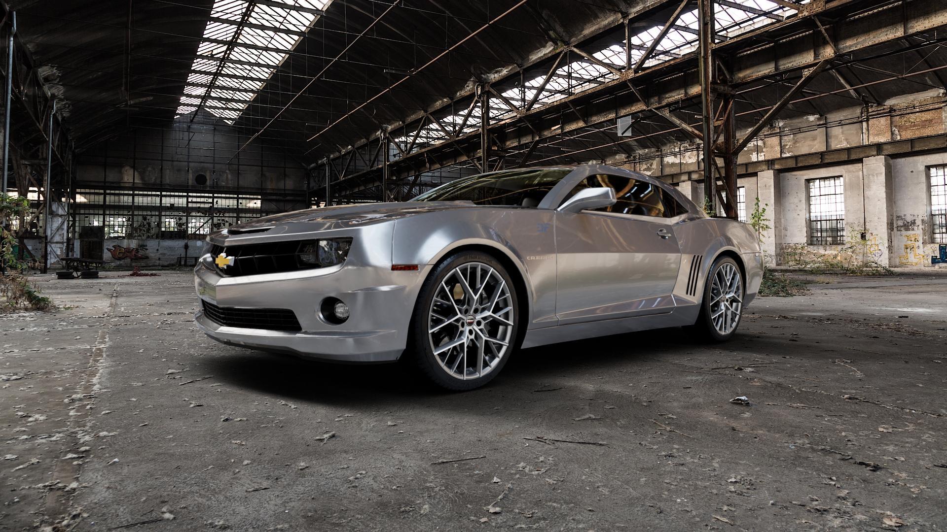 Borbet BY titan polished matt Felge mit Reifen grau in 21Zoll Alufelge auf silbernem Chevrolet Camaro V ⬇️ mit 15mm Tieferlegung ⬇️ Industriehalle 1 Camera_000
