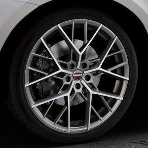 Borbet BY titan polished matt Felge mit Reifen grau in 21Zoll Alufelge auf silbernem Volvo XC60 Typ D Facelift ⬇️ mit 15mm Tieferlegung ⬇️ Industriehalle 1 Thumbnail