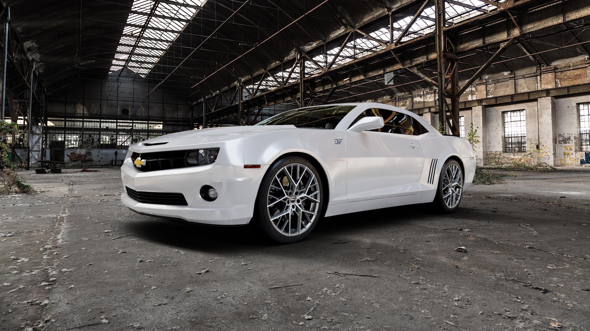 Borbet BY titan polished matt Felge mit Reifen grau in 21Zoll Alufelge auf weissem Chevrolet Camaro V ⬇️ mit 15mm Tieferlegung ⬇️ Industriehalle 1 Camera_000