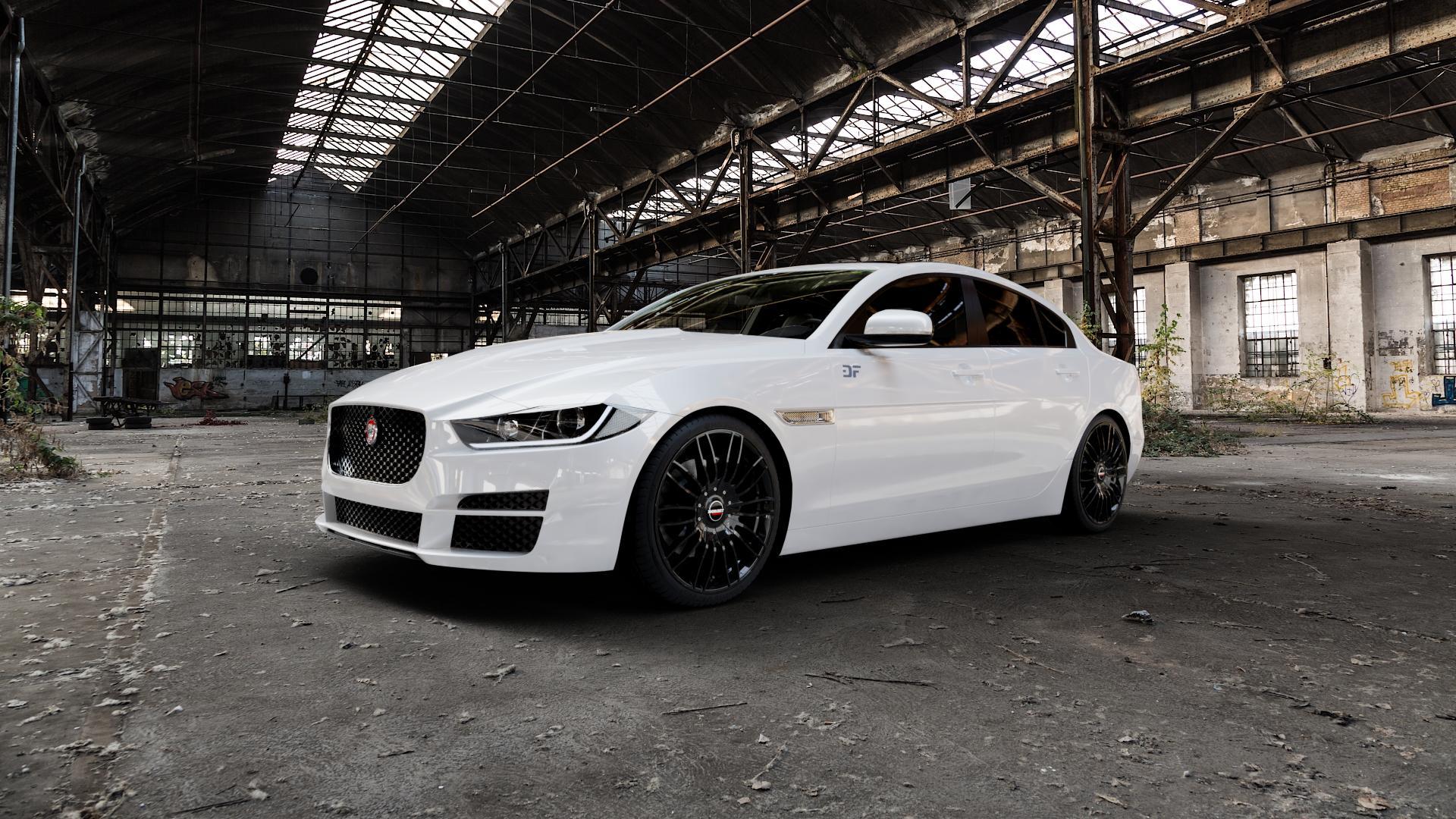 Borbet CW3 black glossy Felge mit Reifen schwarz in 19Zoll Winterfelge Alufelge auf weissem Jaguar XE Typ JA ⬇️ mit 15mm Tieferlegung ⬇️ Industriehalle 1 Camera_000