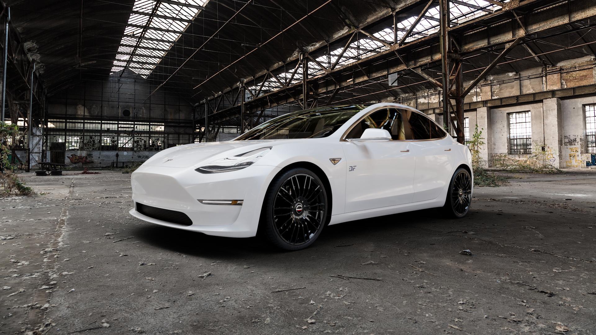 Borbet CW3 black glossy Felge mit Reifen schwarz in 20Zoll Winterfelge Alufelge auf weissem Tesla Model 3 Typ 003 ⬇️ mit 15mm Tieferlegung ⬇️ Industriehalle 1 Camera_000