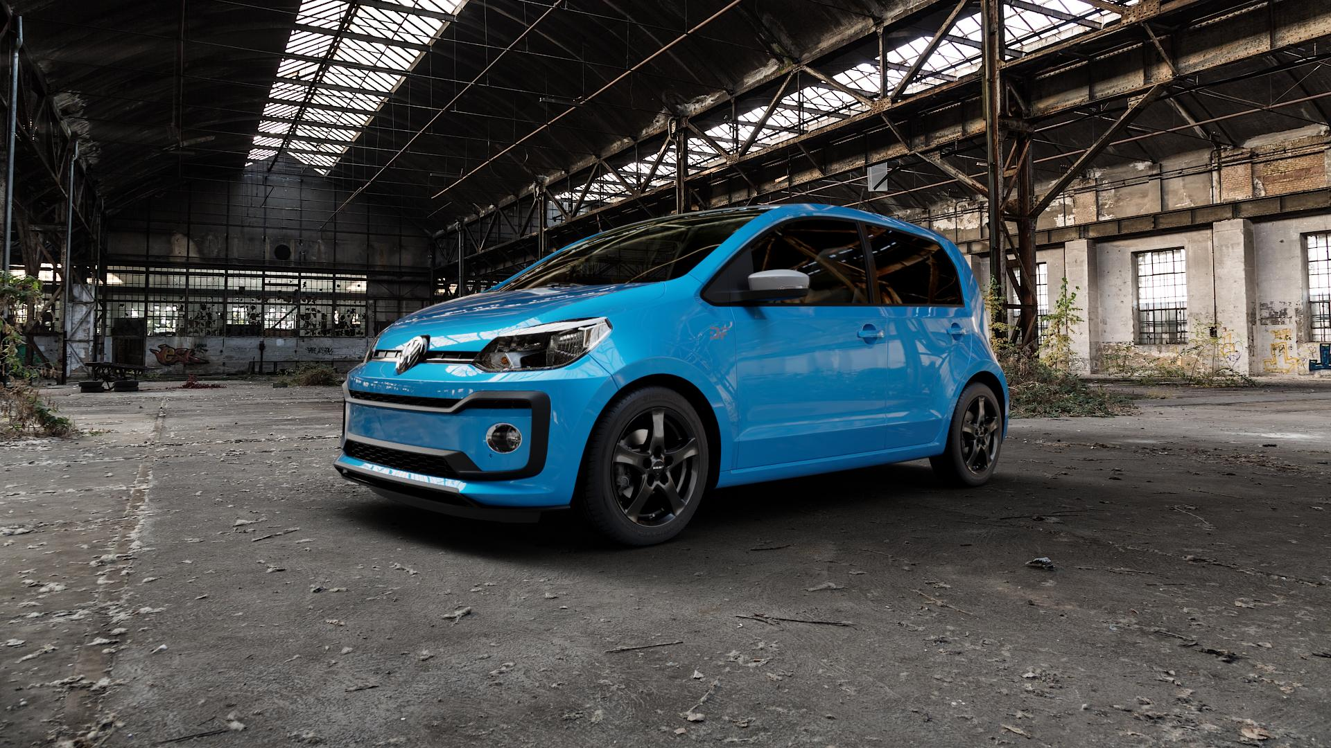 Borbet F black glossy Felge mit Reifen schwarz in 15Zoll Winterfelge Alufelge auf hellblau Volkswagen (VW) UP Facelift 1,0l 44kW (60 PS) 55kW (75 eco-Up 50kW (68 TSI 66kW (90 85kW GTi (116 ⬇️ mit 15mm Tieferlegung ⬇️ Industriehalle 1 Camera_000