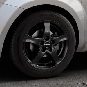 Borbet F black glossy Felge mit Reifen schwarz in 15Zoll Winterfelge Alufelge auf silbernem Alfa Romeo Mito Typ 955 ⬇️ mit 15mm Tieferlegung ⬇️ Industriehalle 1 Thumbnail