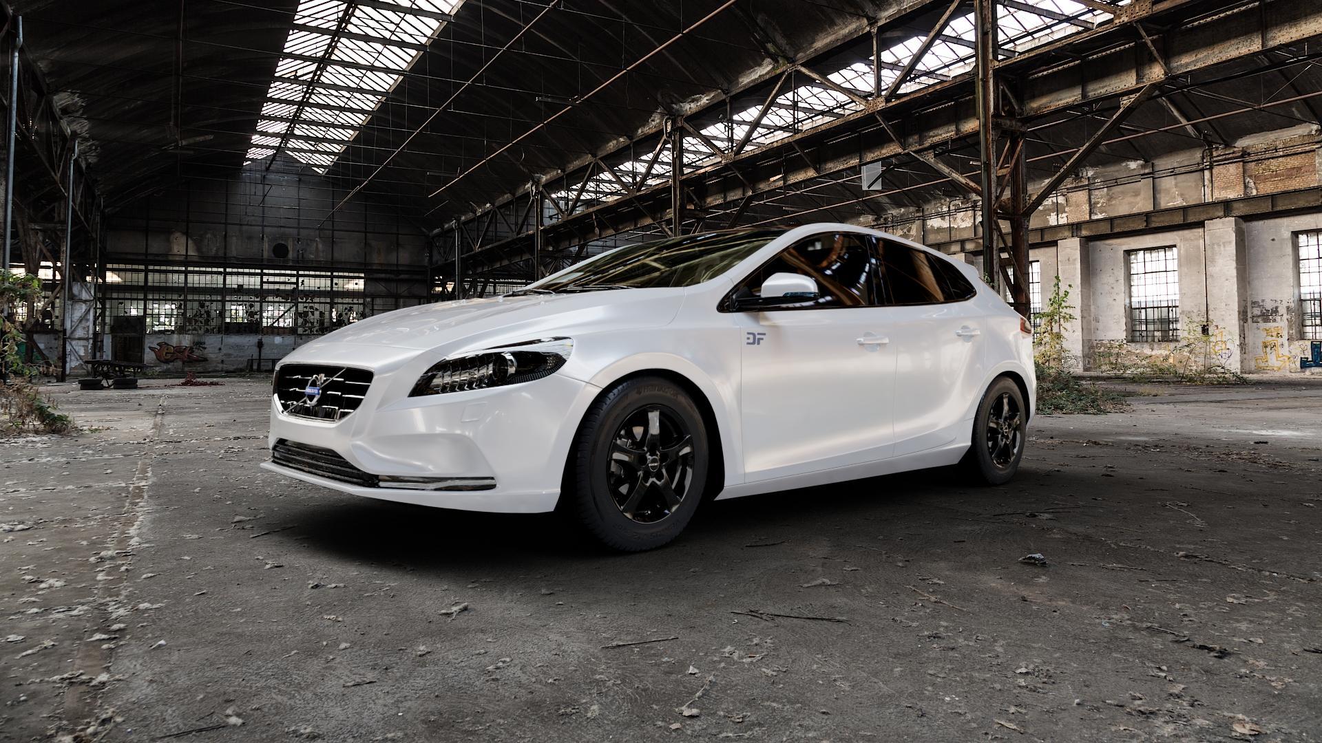 Borbet F black glossy Felge mit Reifen schwarz in 15Zoll Winterfelge Alufelge auf weissem Volvo V40 II Typ M ⬇️ mit 15mm Tieferlegung ⬇️ Industriehalle 1 Camera_000