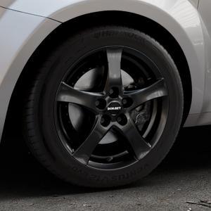 Borbet F black glossy Felge mit Reifen schwarz in 16Zoll Winterfelge Alufelge auf silbernem Alfa Romeo Mito Typ 955 ⬇️ mit 15mm Tieferlegung ⬇️ Industriehalle 1 Thumbnail