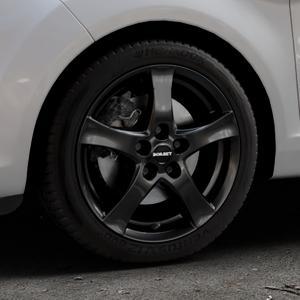 Borbet F black glossy Felge mit Reifen schwarz in 16Zoll Winterfelge Alufelge auf silbernem Ford Fiesta VI Typ JA8 Facelift ⬇️ mit 15mm Tieferlegung ⬇️ Industriehalle 1 Thumbnail