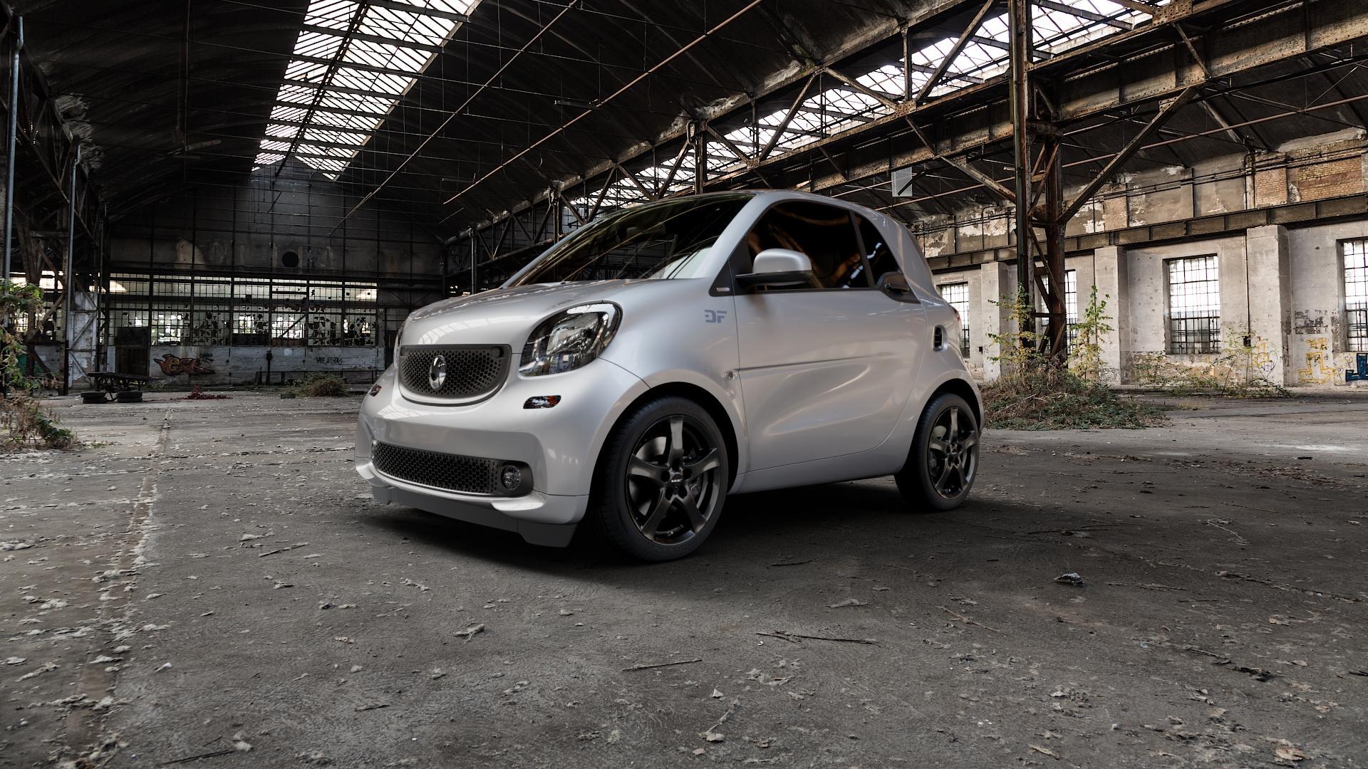 Borbet F black glossy Felge mit Reifen schwarz in 16Zoll Winterfelge Alufelge auf silbernem Smart Fortwo Coupe III (14-) (453) Cabrio (16-) ⬇️ mit 15mm Tieferlegung ⬇️ Industriehalle 1 Camera_000