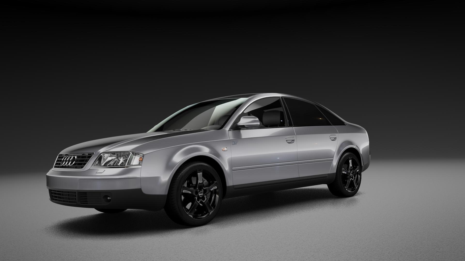 Borbet F black glossy Felge mit Reifen schwarz in 17Zoll Winterfelge Alufelge auf silbernem Audi A6 Typ 4B/C5 (Limousine) ⬇️ mit 15mm Tieferlegung ⬇️ Neutral_mid_max5300mm Frontansicht_1