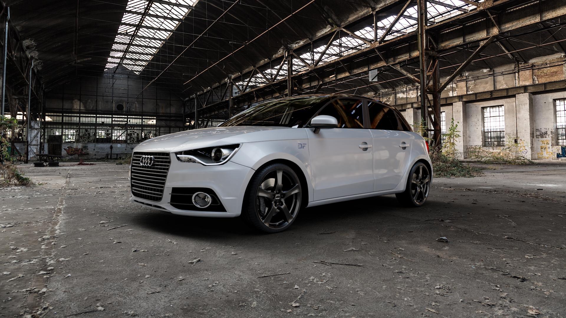 Borbet F black glossy Felge mit Reifen schwarz in 18Zoll Winterfelge Alufelge auf silbernem Audi A1 Typ 8X (Sportback) ⬇️ mit 15mm Tieferlegung ⬇️ Industriehalle 1 Camera_000