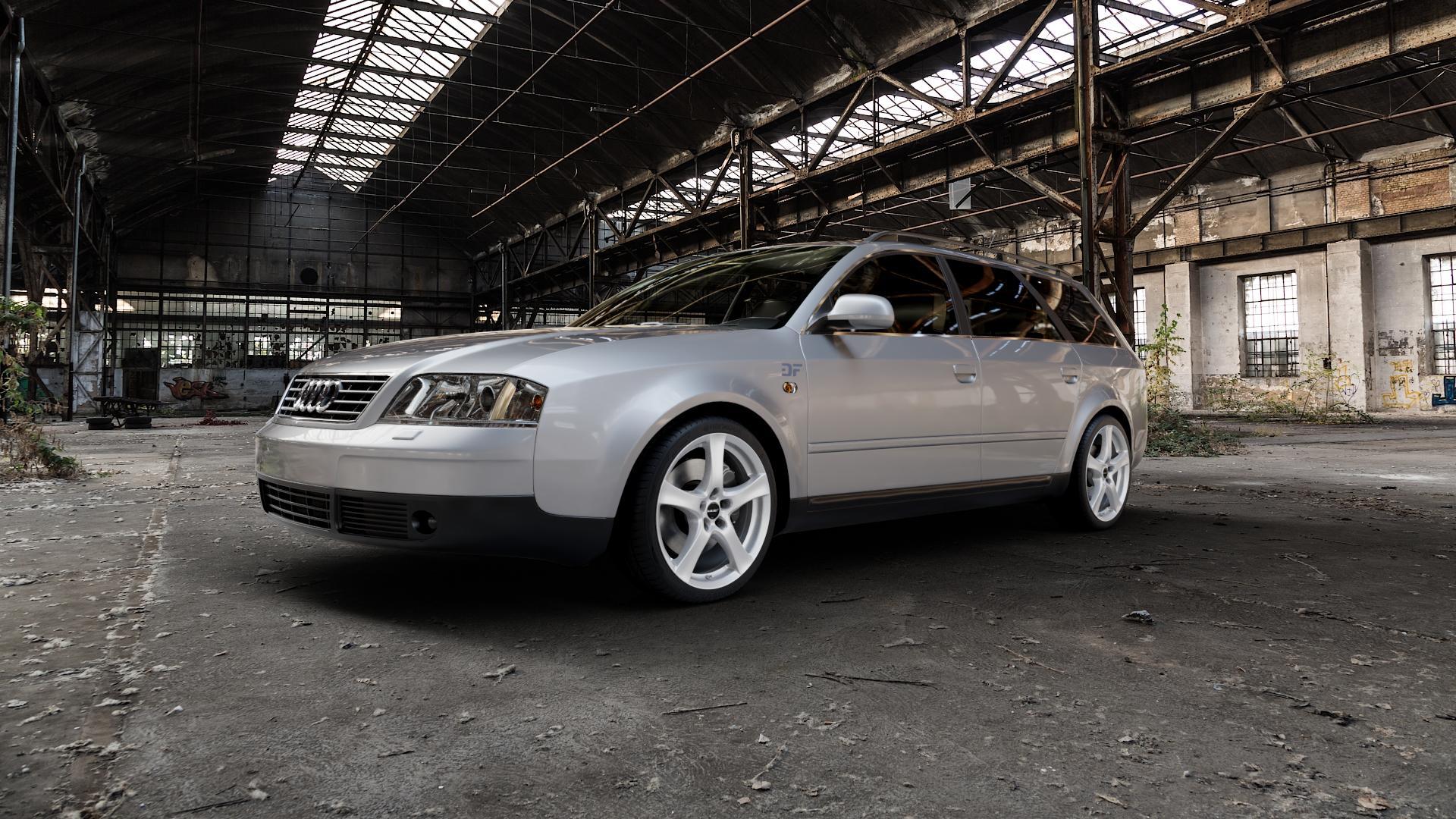 Borbet F brilliant silver Felge mit Reifen silber in 18Zoll Winterfelge Alufelge auf silbernem Audi A6 Typ 4B/C5 (Avant) ⬇️ mit 15mm Tieferlegung ⬇️ Industriehalle 1 Camera_000